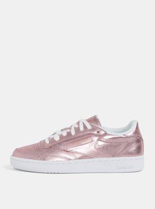 Růžové dámské metalické kožené tenisky Reebok Club C 85