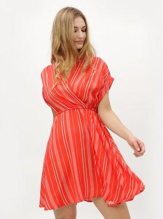 Červené pruhované šaty s prekladaným výstrihom VERO MODA Laura