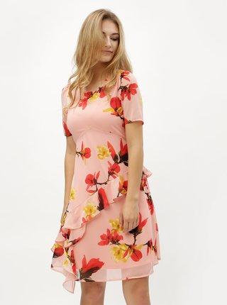 Ružové kvetované šaty s volánom VERO MODA Katy