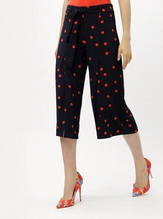 Pantaloni culottes rosu-albastru cu talie inalta ONLY Michelle
