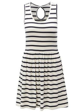 Bielo–modré pruhované šaty s prestrihom na chrbte ONLY Rina