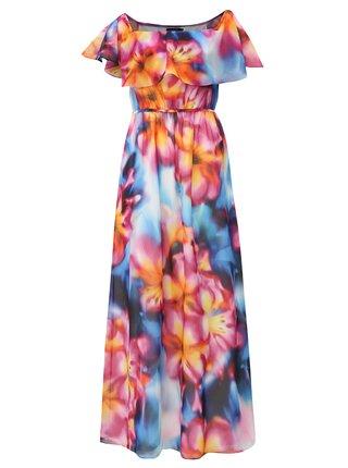 Rochie maxi albastru-roz cu volane si cordon Dorothy Perkins