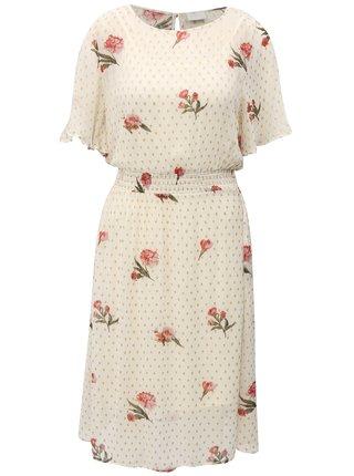 Krémové květované šaty VILA Alondra