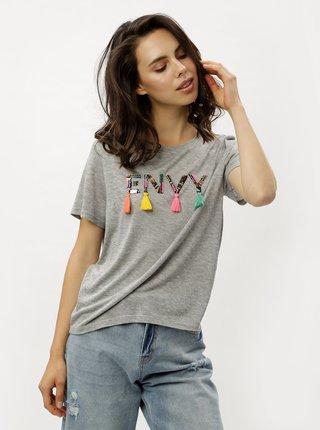 Sivé melírované tričko s flitrami a strapcami ONLY