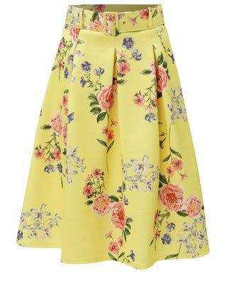Fusta galben cu cordon si model floral Miss Selfridge