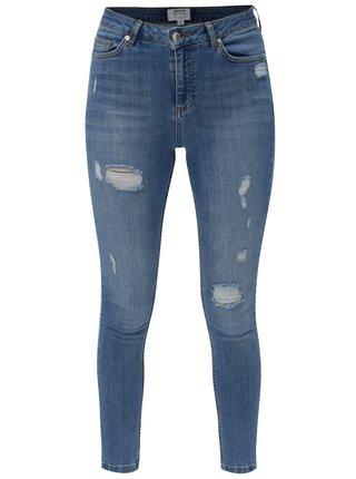 Světle modré super skinny džíny s vysokým pasem Miss Selfridge