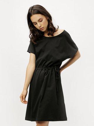 Čierne voľné basic šaty so sťahovaním v páse ZOOT