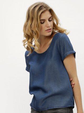 b703274559 Modré tričko s rozparkem a uzlem na zádech Noisy May Cassy