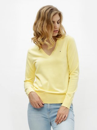 Žlutý dámský svetr s véčkovým výstřihem Tommy Hilfiger