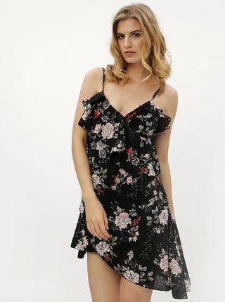 Rochie mini neagra asimetrica cu model floral MISSGUIDED