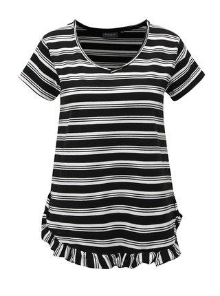 Bílo-černé pruhované  tričko s volánem Broadway Darian