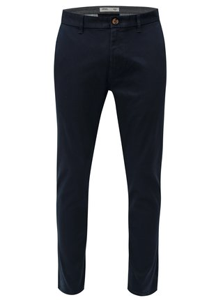 Tmavomodré slim fit chino nohavice Burton Menswear London