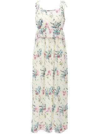 Rochie maxi alba cu model floral si bretele Broadway Fidelia