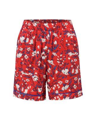 Červené kvetované kraťasy s vysokým pásom Noisy May