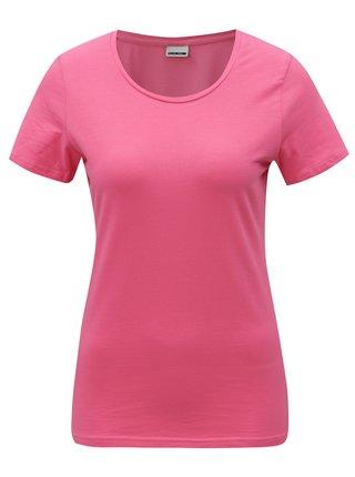 Růžové basic tričko s kulatým výstřihem Noisy May