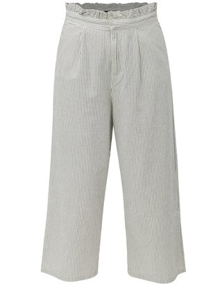 Pantaloni culottes negru-alb in dungi ONLY Annelle
