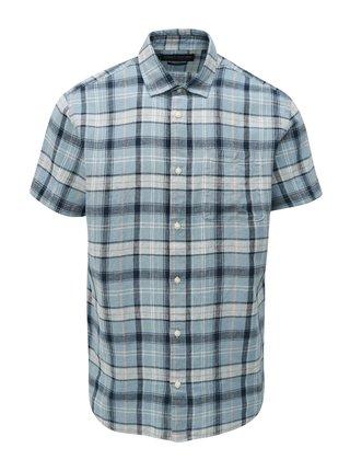 Modrá ľanová košeľa s krátkym rukávom Jack & Jones