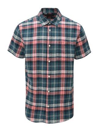 Červeno-zelená lněná košile Jack & Jones