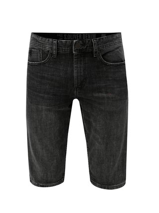 Pantaloni barbatesti negri scurti slim fit din denim s.Oliver