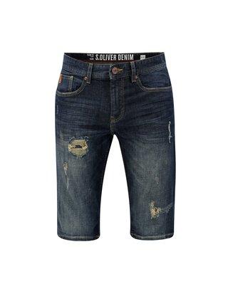 Pantaloni barbatesti albastru inchis scurti slim fit din denim s.Oliver