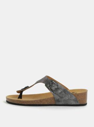 Papuci de dama flip-flop ortopedici gri inchis cu aspect metalic Scholl Gandia