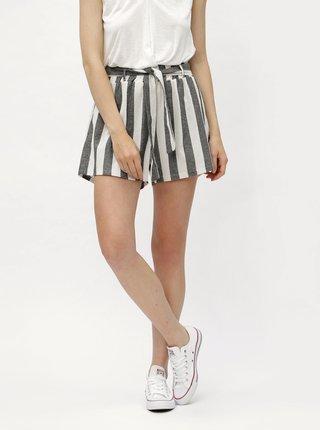 Bielo–čierne pruhované kraťasy s vysokým pásom Haily´s Alina