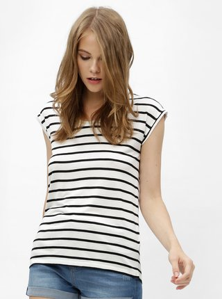 Čierno-biele pruhované basic tričko Haily´s Juna