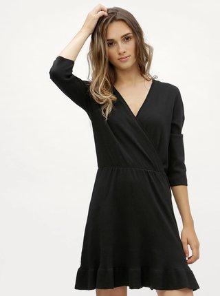 Čierne svetrové šaty s prekladaným výstrihom ONLY Elsa