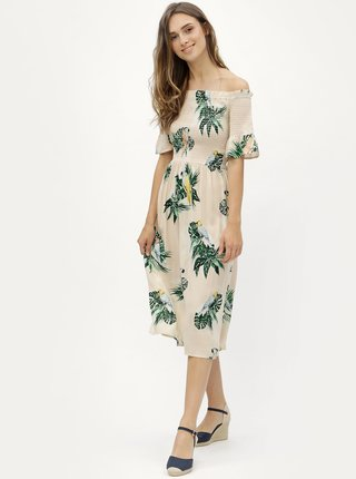 Béžové vzorované šaty s odhalenými rameny Dorothy Perkins