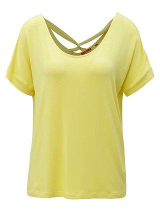 Žluté dámské volné tričko s pásky na zádech s.Oliver