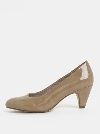 Pantofi crem cu aspect lucios si toc Tamaris
