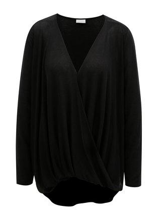 Bluza neagra cu partea din fata suprapusa VILA Nexa