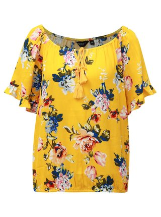 Bluza galbena cu model floral si volane pe maneci Dorothy Perkins