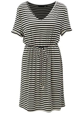 Krémovo-černé pruhované šaty se stahováním v pase Dorothy Perkins