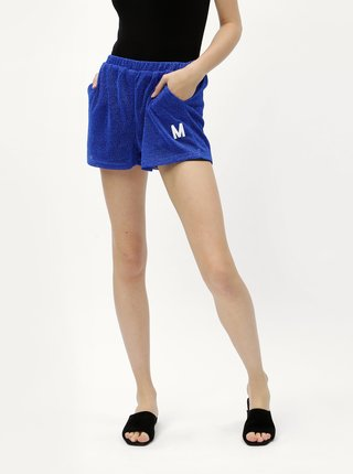 Pantaloni scurti albastri cu efect stralucitor si broderie Moss Copenhagen