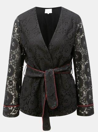Čierne čipkované kimono s opaskom VILA Luas