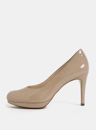 Pantofi bej din piele naturala cu aspect lucios si toc cui Högl