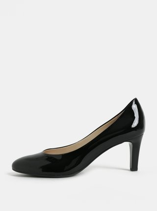 Pantofi negri din piele naturala cu aspect lucios si toc Högl