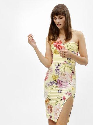 Rochie mulata galbena cu model floral si bretela MISSGUIDED