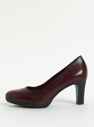 Pantofi visinii din piele naturala cu toc inalt Tamaris