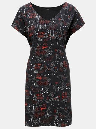 Čierne hodvábne šaty s potlačou Mayda Růženka