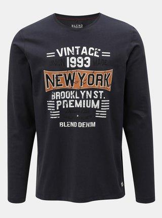 Tmavomodré regular tričko s dlhým rukávom Blend
