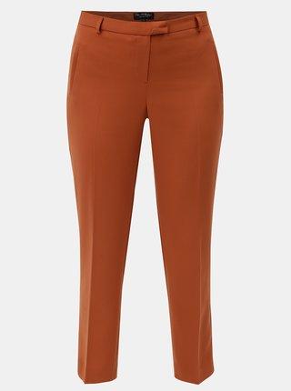 Oranžové skrátené nohavice s pukmi Miss Selfridge