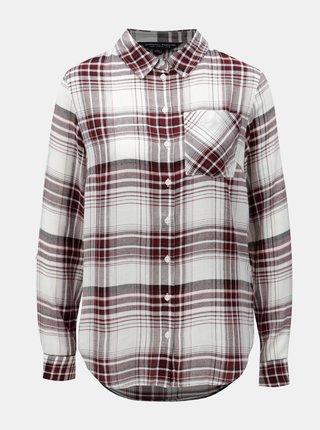 Vínovo-biela kockovaná košeľa s náprsným vreckom Dorothy Perkins