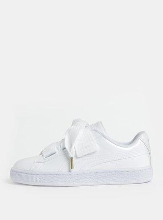 Pantofi sport de dama albi cu aspect lucios si sireturi late Puma Basket Heart