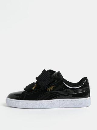 Pantofi sport de dama negri cu aspect lucios si sireturi late Puma Basket Heart