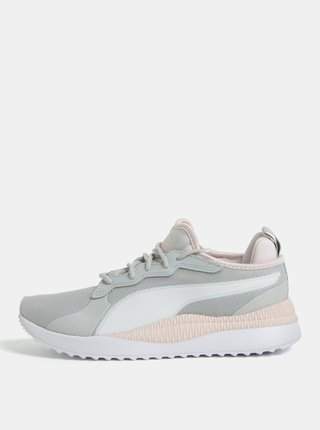Pantofi sport de dama roz-gri cu detalii din piele intoarsa Puma Pacer Next
