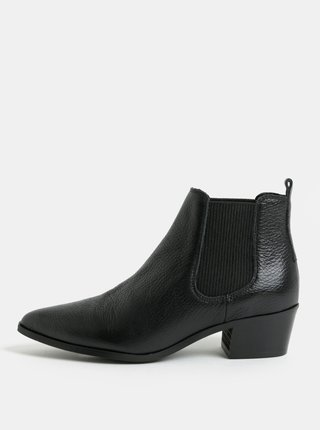 Čierne kožené chelsea topánky Pieces Delta
