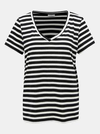 Bílo-černé pruhované basic tričko Jacqueline de Yong Cloudy