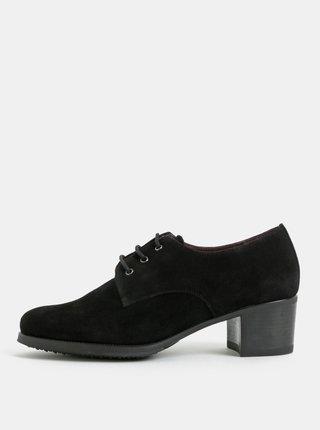 Pantofi negri din piele intoarsa cu toc OJJU